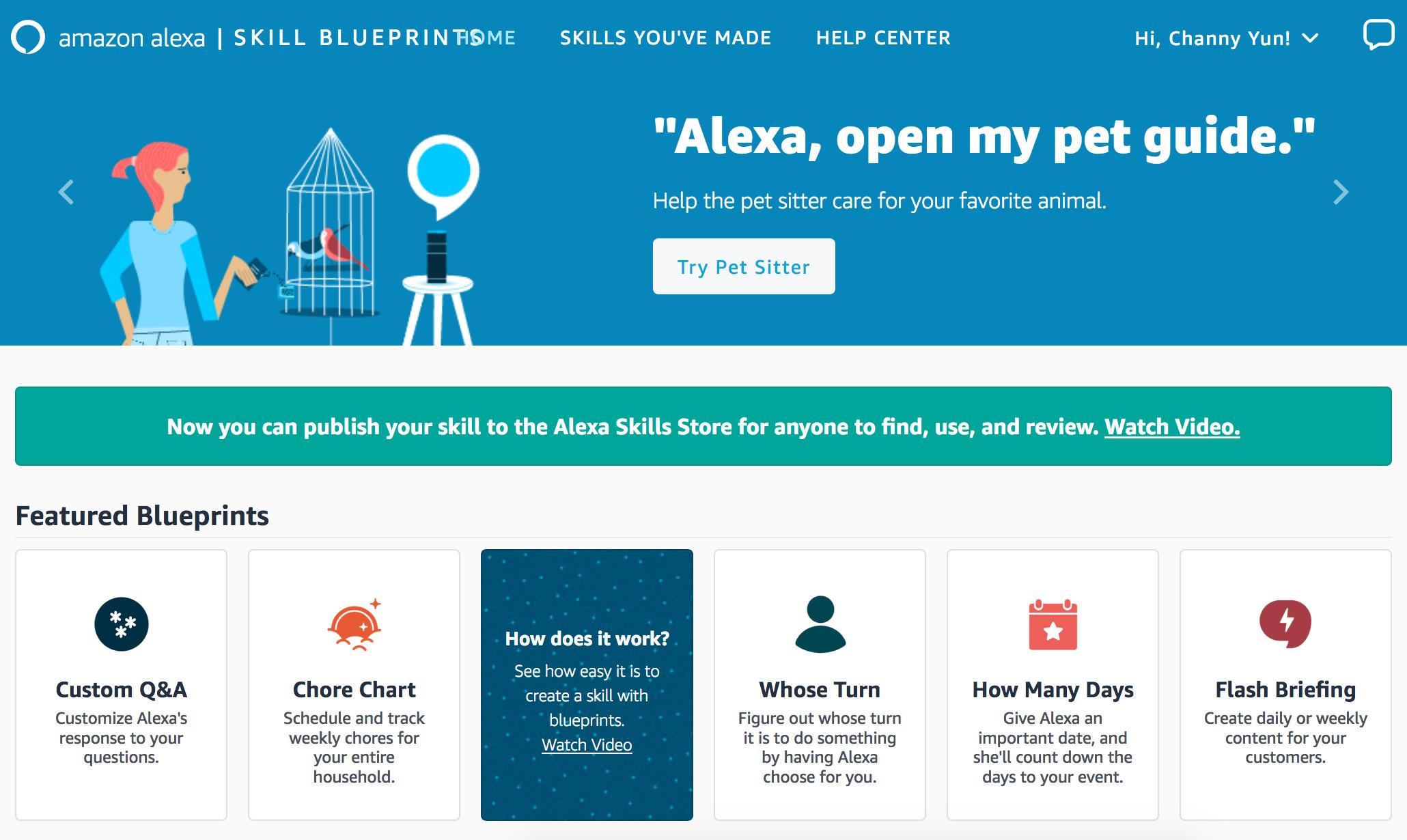초보자도 Alexa 스킬을 만드는 손쉬운 방법 – Alexa Skills Blueprints
